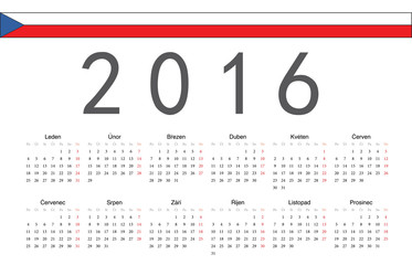 Czech 2016 year vector calendar