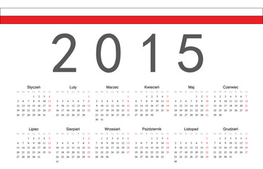 Polish 2015 year vector calendar