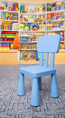 Chair and shelf with toys