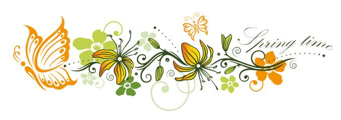 Spring time. Frühlings Deko mit Blumen und Schmetterlingen.