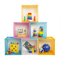 boxes with toys