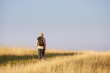Wanderer läuft durch Wiese
