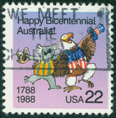 Caricature of Australian Koala and American Bald Eagle