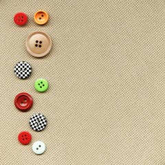 Buttons on fabric