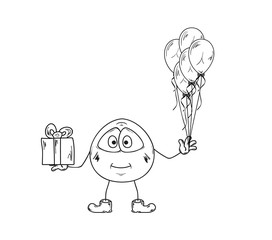emoticon with balloons and present