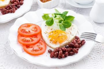 Breakfast Valentine's Day on  plate