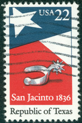 stamp shows a Texas State Flag and Silver Spur