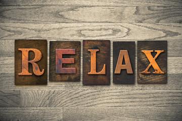 Relax Concept Wooden Letterpress Type