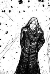 Man in a black cloak