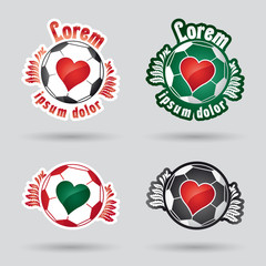 classic football (ball) logo with heart in the middle
