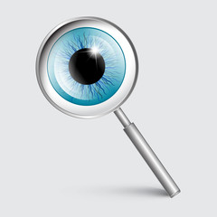 Vector Magnifying Glass with Blue Eye