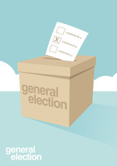 A ballot box for voting in a general election