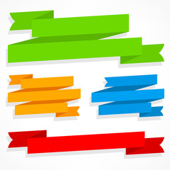 Color ribbons set on white, vector illustration