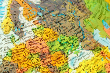 Door stickers Eastern Europe map detail globe eastern Europe