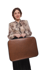 woman with suitcase isolated  white background
