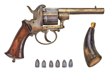 Revolver with bullets and gun powder
