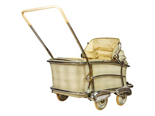 Retro baby stroller isolated on white