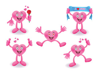 Cartoon Smiling heart set