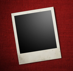 Blank photo frames on canvas background. Path included