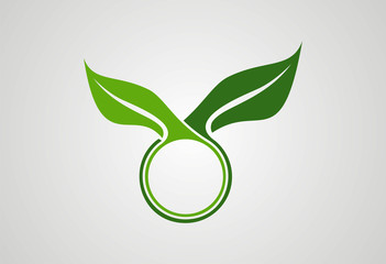 Circle leaf ecology logo vector