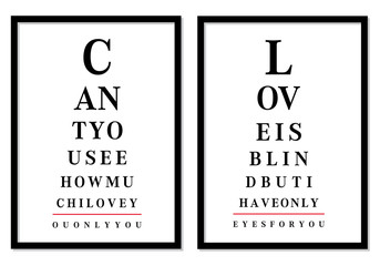 eye chart pictures with love messages, vector