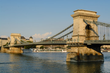 Chain bridge over Danube river in Budapest
