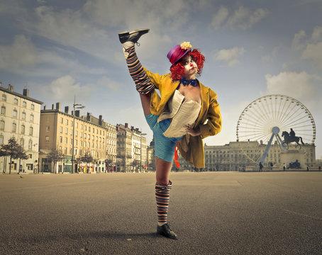A clown in the square