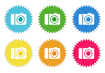 Set of colorful stickers icons with camera symbol