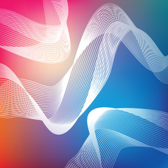Abstract background, shape of fine lines, colored waves