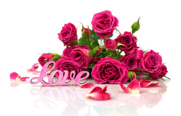 "bouquet of roses and word ""love"""