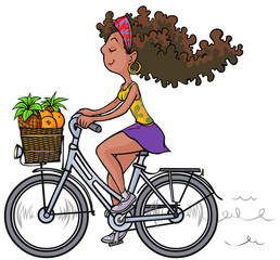 Pretty african girl on bike.
