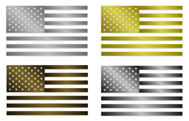 set of four simply isolated stylized metallic flags of USA