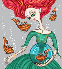 Beautiful illustration of a red-haired girl and goldfish.