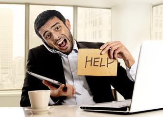 businessman in stress holding help sign multitasking
