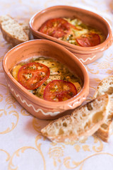 Baked cheese and tomato-Greek specialty bujurdi