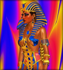 Cleopatra, Egyptian digital art, colorful background