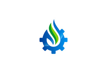water ecology gear vector logo
