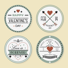Valentine's day and romantic badges set