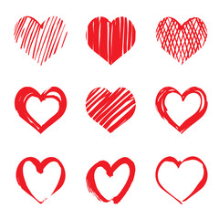 Set of red vector drawing hearts