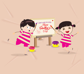 kids funny painting Valentines greeting card