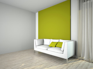 Sofa in the room 3d rendering