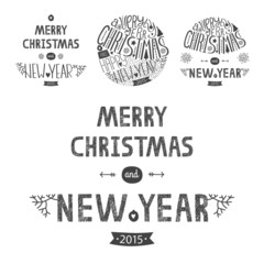 Vector christmas greeting card set