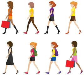 Faceless ladies walking