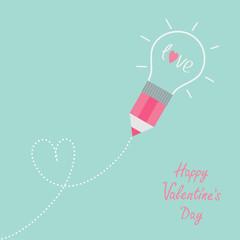 Pencil light bulb Dash line heart Flat design Valentines day