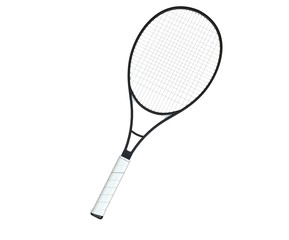 Black tennis racquet isolated on white background