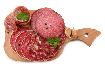 Wall Mural - Various sliced salami with garlic, dill and spices