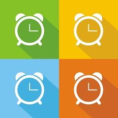 Iconos reloj despertador colores sombra