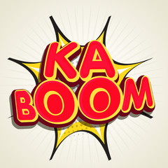 Stylish text Ka Boom on pop art explosion.