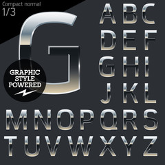 Silver chrome and aluminum vector alphabet set. Compact normal.