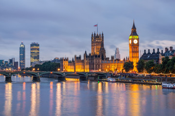 Foto op Textielframe Londen Big Ben and Westminster Bridge at dusk, London, UK